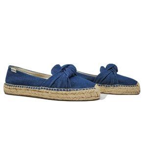 Soludos Blue Denim Bow Slip On Espadrilles Shoes